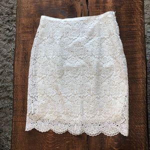 H&M white lace floral detail pencil midi skirt M